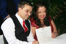 Newlyweds with Marriage Certificate